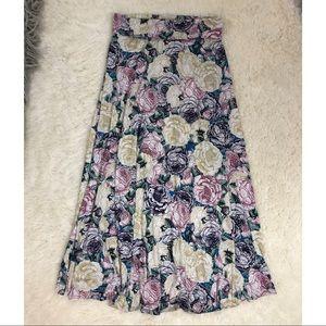 Lularoe Maxi Skirt Cabbage Roses Slinky Medium